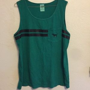 PINK green tank top with stripes and dog